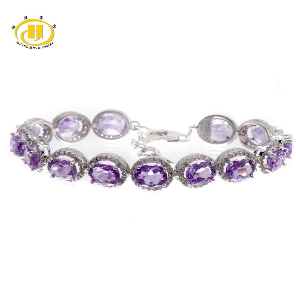 Hutang Stone Jewelry 21.78 CT Natural Purple Amethyst Gemstone Solid 925 Sterling Silver Bracelet for women Fine Jewelry 7.25 hutang stone jewelry 8 83 ct natural amethyst gemstone solid 925 sterling silver bracelets for women fine fashion jewelry 7 25