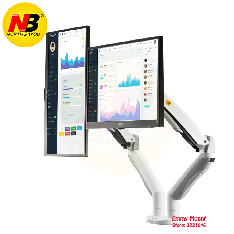 NB F195A Aluminum Alloy 22-32 inch Dual LCD LED Monitor Mount Gas Spring Arm Full Motion Monitor Holder Support with 2 USB Ports nb f180 gas spring full motion 17 27 dual screen monitor holder desktop clamping or grommet tv mount with usb and audio port