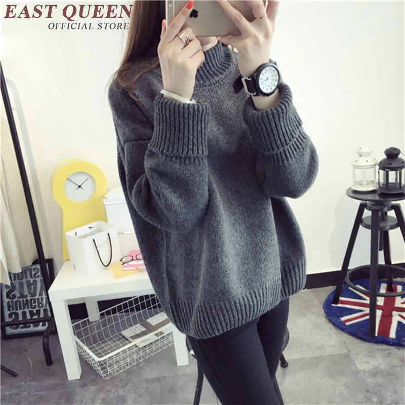 New arrival womens sweaters 2017 winter sweater women solid color high collar christmas sweater free size AA2613 YQ