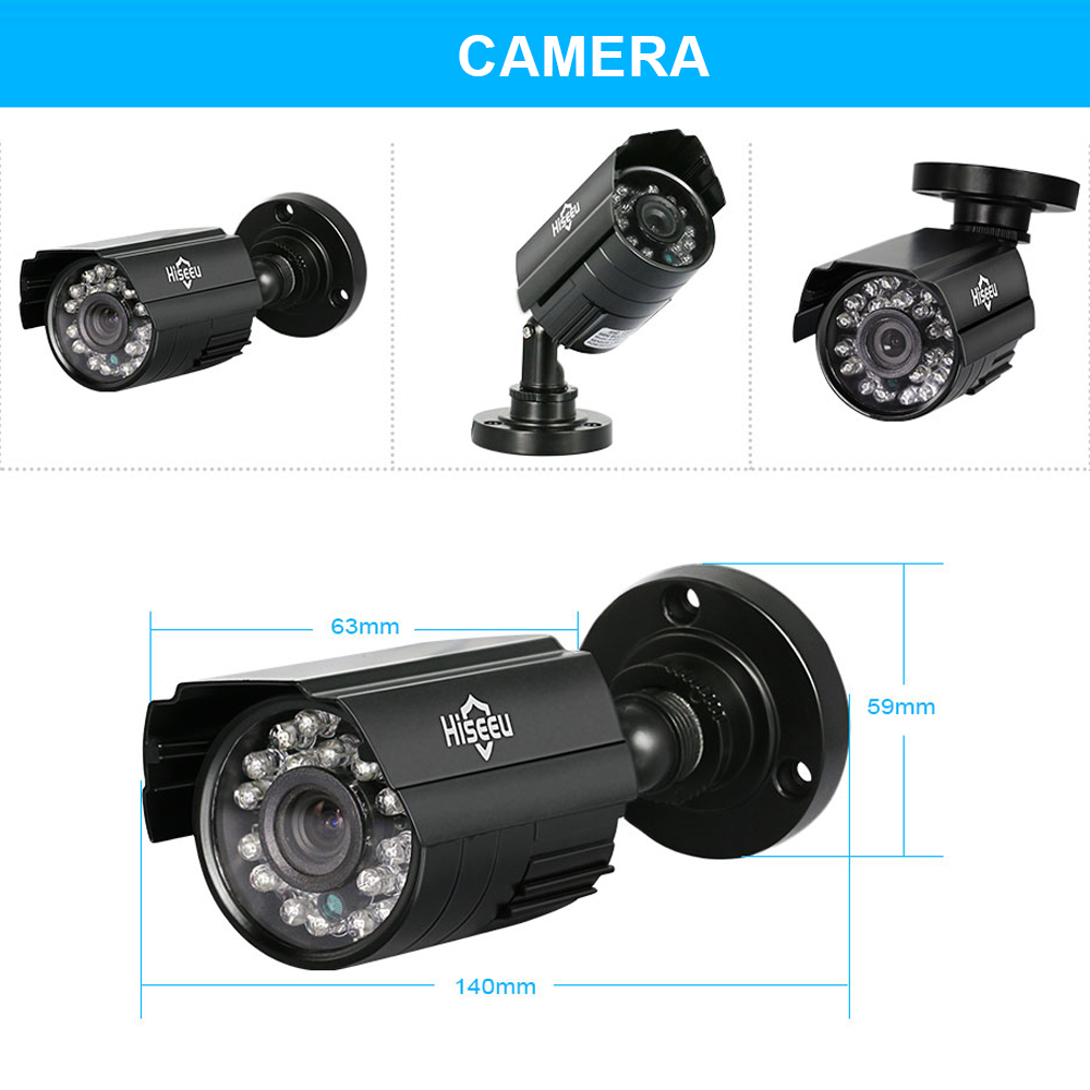 4 Channel CCTV System 4CH Mini DVR 720P IR Bullet Outdoor AHD Camera Security System Kit Camaras De Seguridad XMEYE 1200TVL 42