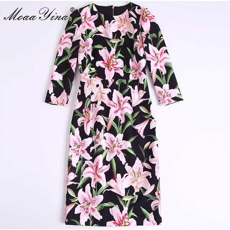 Moaa yina 패션 디자이너 런웨이 드레스 봄 여름 여성 드레스 긴 소매 백합 꽃 프린트 우아한 드레스-에서드레스부터 여성 의류 의  그룹 3
