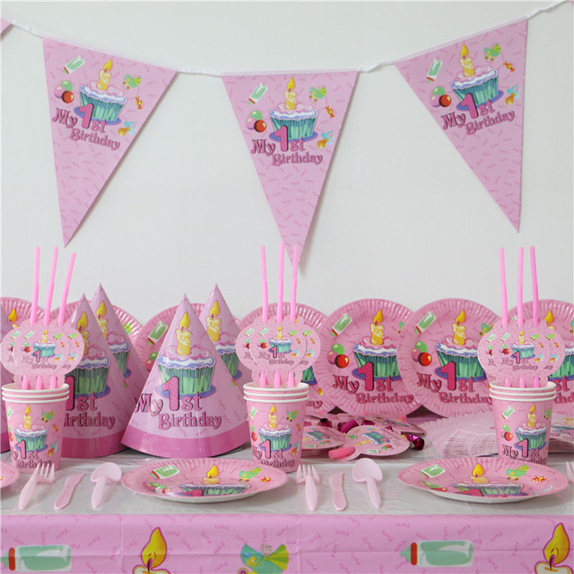 102pcs Kids First Birthday Party Set 10 people Girl Boy 1st Birthday