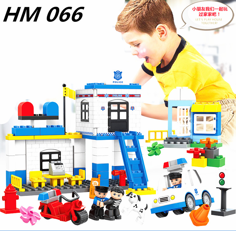 NEW HM066 95PCS Models building Toy enlighten blocks DIY toys Early Learning Toys for Children Police Station Blocks for Duploe led 3d puzzle toys l503h empire state building models cubicfun diy puzzle 3d toy models handmade paper puzzles for children