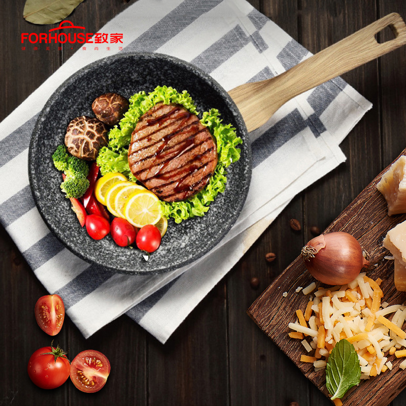 8 inch Non-stick Frying Pan Medical Stone Skillets Baking Cooking Pot Cake Pans for Induction Pan Cooker Wok No Cover