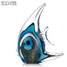 Tooarts Blue Stripe Tropical Crystal Fish Glass Sculpture Modern Art Favor Gift Artwork Home Decoration