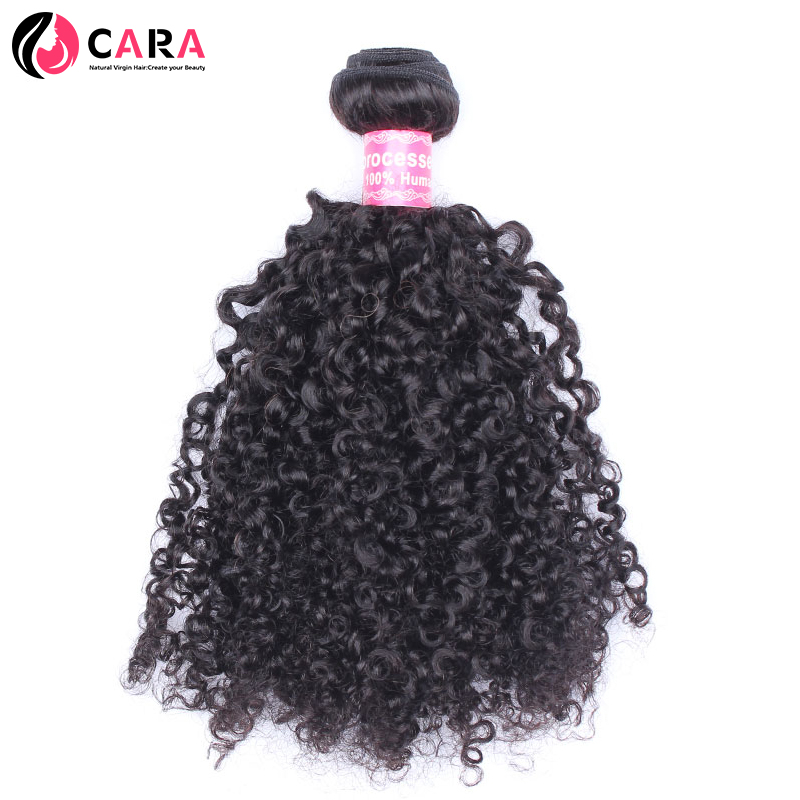 CARA Brazilian 3B 3C Kinky Curly Weave Human Hair Extensions Natural Color Hair Weaving Non-Remy