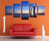 5 Panel burj al arab hotel dubai bae seyahat rezervasyon havuzu Modern Ev Dekor Tuval Baskı yağlıboya 5 Set Her çerçevesiz