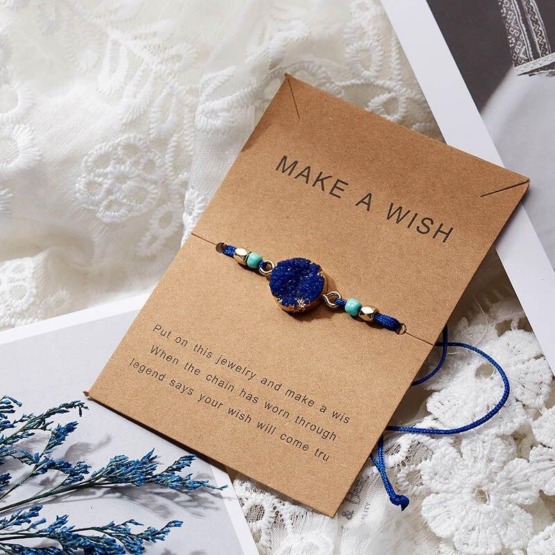 Для женщин браслеты на удачу бисера красная строка натуральный камень ткань браслеты мужчин ручной работы интимные аксессуары с карты - Окраска металла: Dark Blue