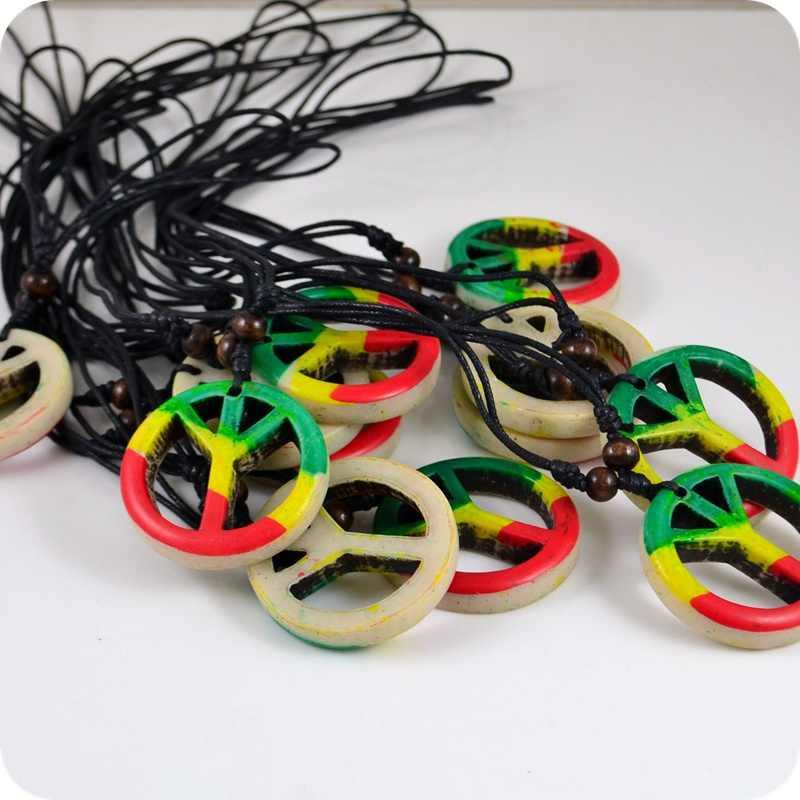 Rojo, amarillo, verde, señal de paz, collares de resina colgante, Jamaica, Tafari, rastafari, Reggae, amuleto afortunado, regalo, tótem Tribal genial