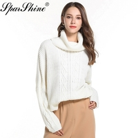 Pullovers High Neck Sweater Women Solid Slim Fit Knitwear Jumper White 2018 Knit Pull Femme Maglione 4 Colors Street