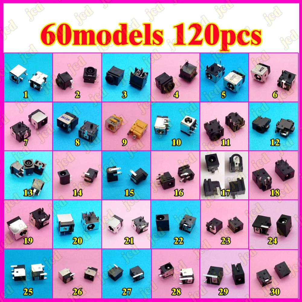 Sample package:60models,120ps Tablet PC MID/Laptop DC Power Jack Connector for Samsung/Asus/Acer/HP/Toshiba/Dell/Sony/Lenovo/... brand new 0 7mm rosh charging power connector dc power jack for tablet pc fly touch g80s n70s n70 hd