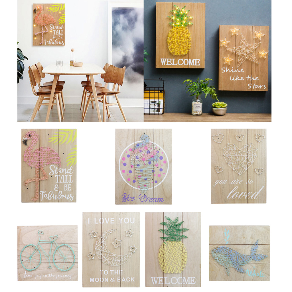 LED Light Wooden Sign 3d Decorative Painting Plaque for Wall Hanging Decor