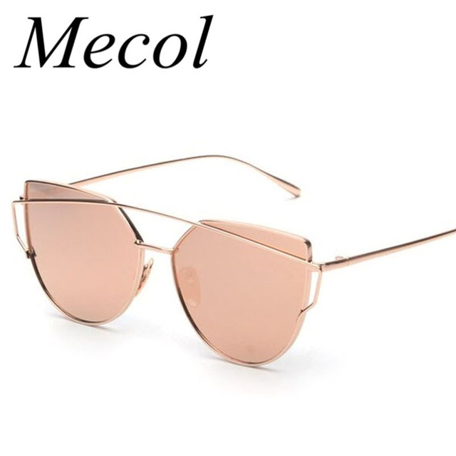5010e3c8da Mecol Fashion Women Cat Eye Sunglasses Classic Twin-Beams Rose Gold Frame  Sun Glasses for Women Mirror Flat Lense Sunglass M195