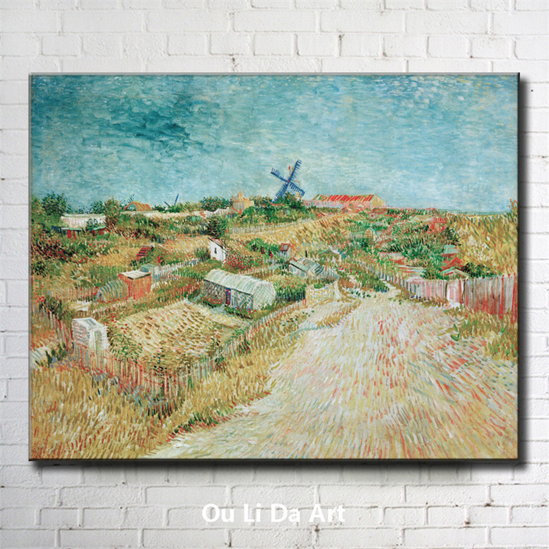 impression Van windmill house wheat field scenery canvas printings oil painting printed on canvas wall art decoration pictures