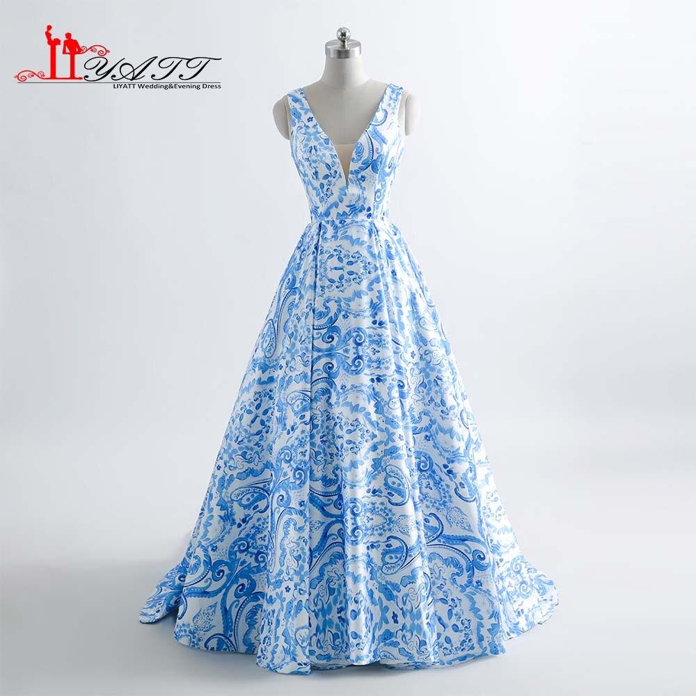 Aliexpress.com : Buy Long Evening Dresses Flower Floral V Neck Print ...