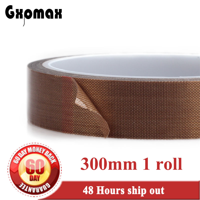 (300mm*10M*0.13mm thick) 30cm, PTFE High Temperature Withstand Adhesive Teflon Tape for Vacuum Hot Seal, Insulate, Packing