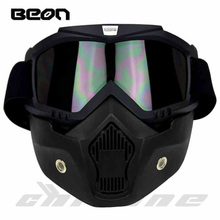 New Beon motorcycle helmet face mask dust mask with detachable Goggles Mouth Filter for modular Open