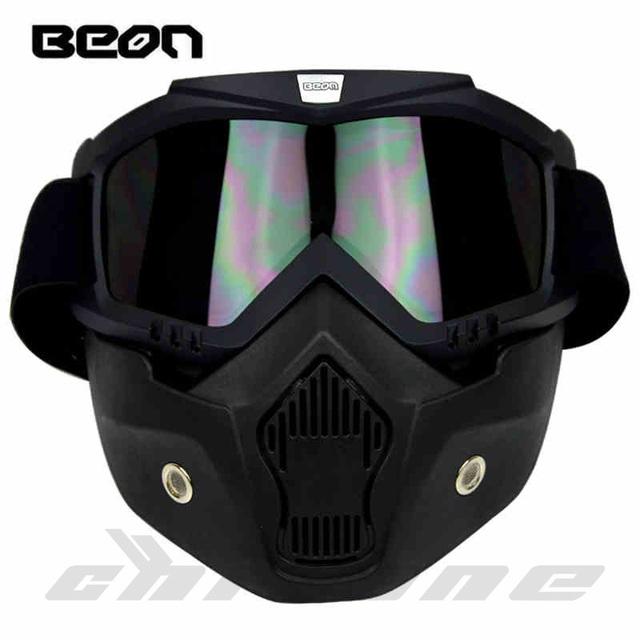 Nueva Beon motocicleta de la cara máscara de polvo máscara con desmontable Gafas y la boca del filtro para modular para moto open face vintage cascos