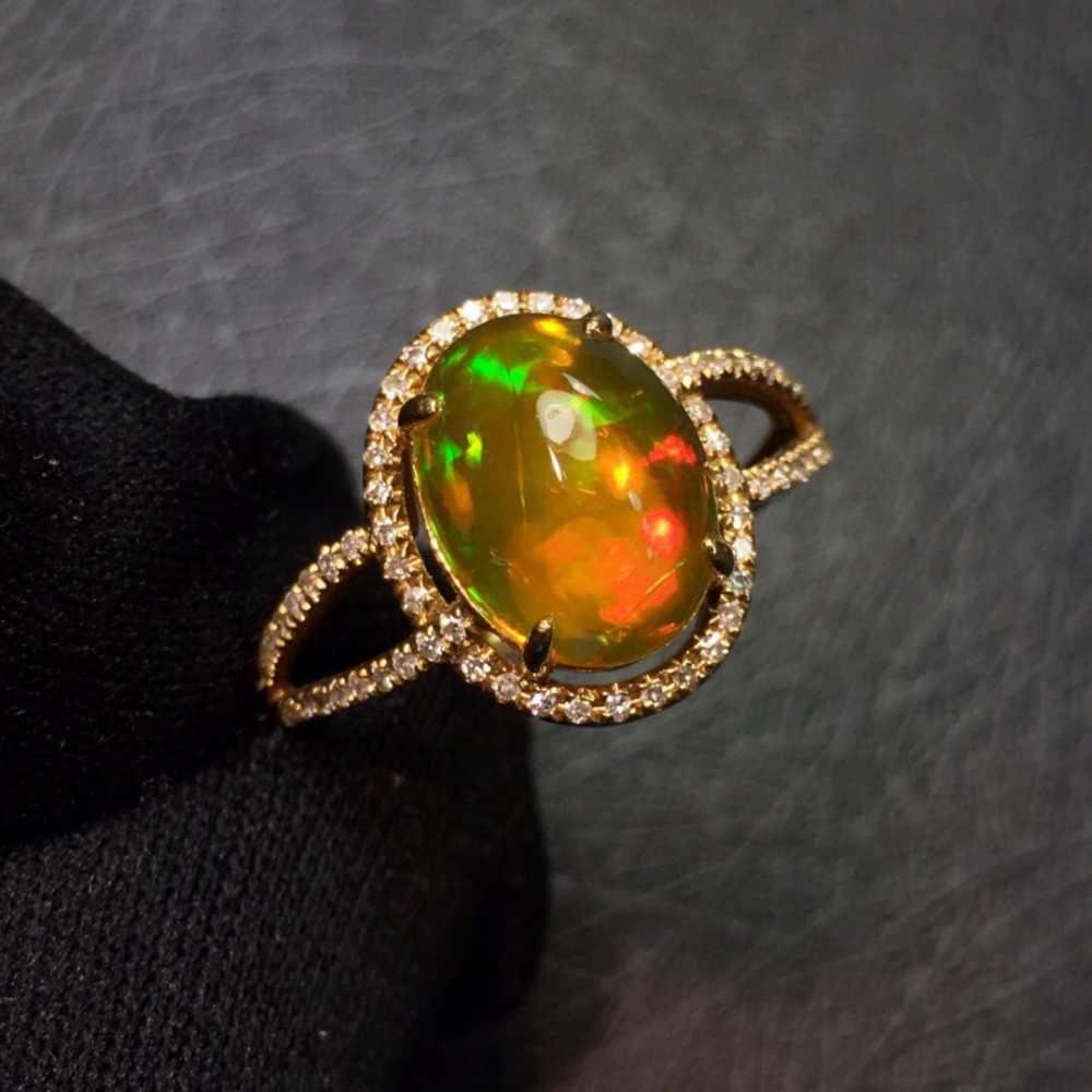Jóias finas real puro 18 k ouro au750 diamante jóias 100% natural opala pedras preciosas anéis femininos para anéis finos femininos
