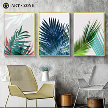 ART ZONE Modern Green Tropical Plant Leaves Canvas Art Print Poster Nordic Green Plant Wall Art Pictures Kids Room Decor Poster(China)