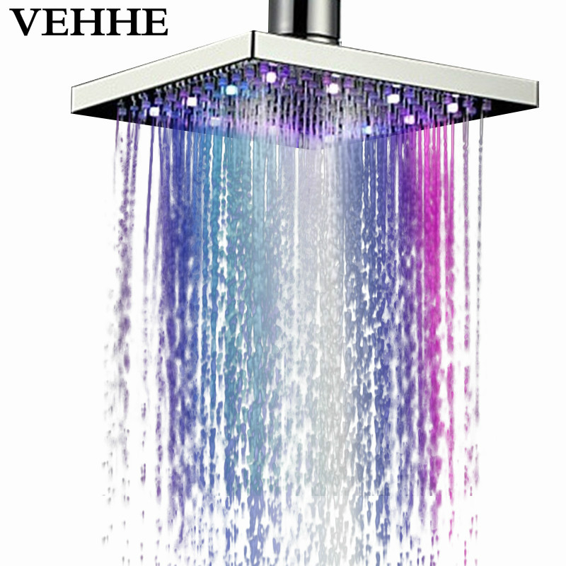VEHHE 8 Inch Stainless Steel LED Light Rainfall Shower Head Bath Square Water Temperature Ceiling Mounted LED Nozzle Shower