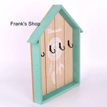 D artesanía de madera corazón creativo cuero llave caja de pared colgador de decoración para hogar múltiples gancho clave de almacenamiento de racker
