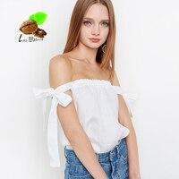 2017 summer sweet sexy slit neckline strapless lacing top women fashion shirt loose sleeveless t-shirt white women plus size