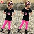 2017 Primavera Conjuntos de Roupas de Verão Crianças Meninas Rosa Lip Imprimir (T-Camisa de Manga Curta + Calça) Crianças Roupas de algodão Ternos Para O Bebê