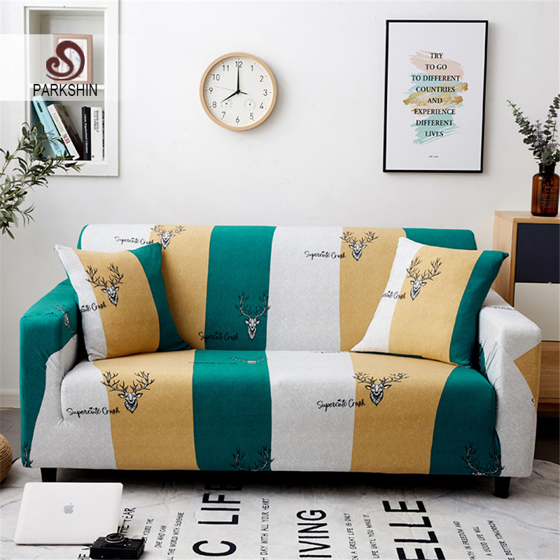 Parkshin Deer 1/2/3/4 Seater Slipcover Stretch Sofa Covers Furniture Protector Polyester Loveseat Couch Cover Sofa Towel-in Sofa Cover from Home & Garden