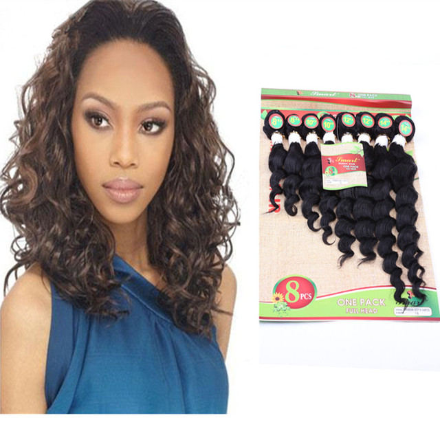 8pcslot 8 14inch Weft Hair Extensions Deep Wavy Hair Wave Blended