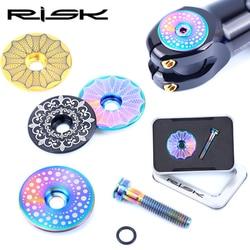 """1 zestaw RISK 1 1/8 """" / 28.6mm do roweru szosowego i górskiego zestaw słuchawkowy z przodu górna nakrętka na wentyl i M6x30 gwiazda nakrętka śruba trzpienia śruba CT4 tytan w Zestawy słuchawkowe na rower od Sport i rozrywka na"""
