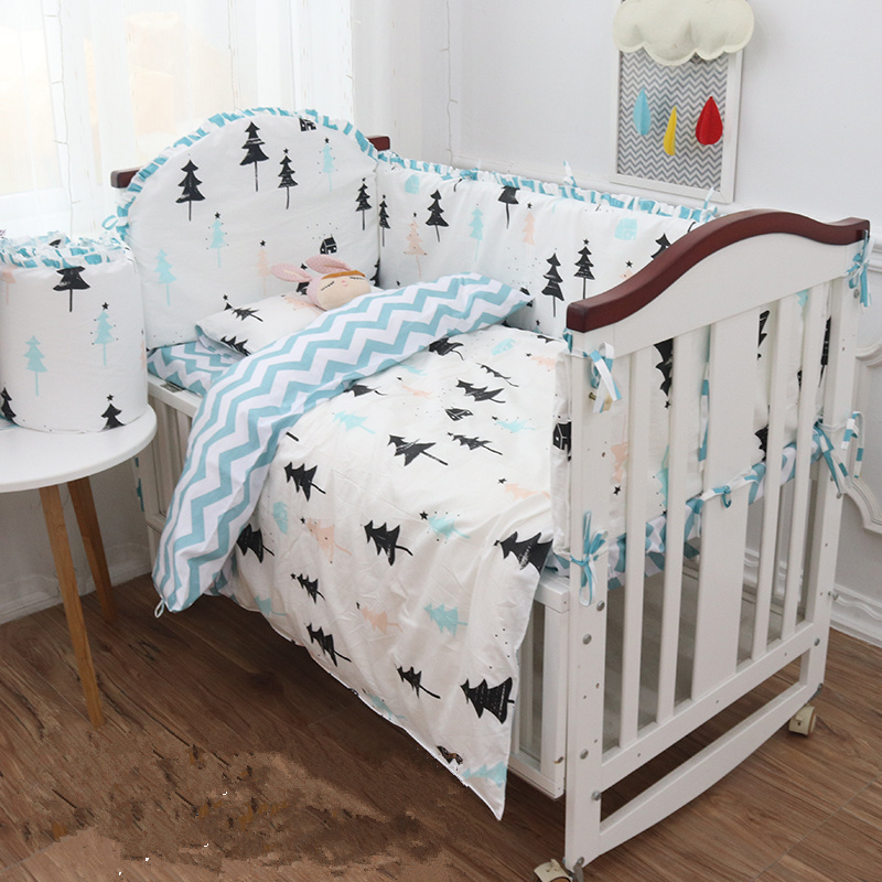 5pcs/set Nordic Style Baby Room Crib Bedding Set Cotton Baby Bed Linens Set Multi Sizes Cot Bedding Include 4 Bumpers Sheet