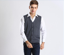 Autumn and Winter New Casual Solid Color V Neck Men Sleeveless Button Sweater Vest Cardigan