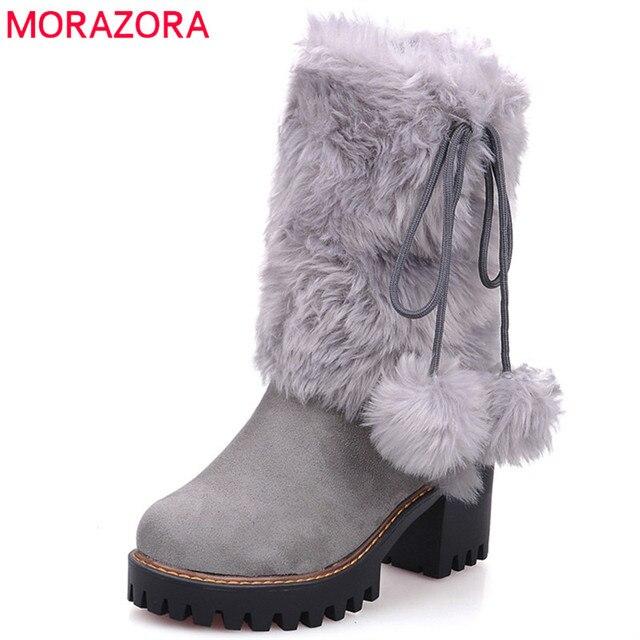 MORAZORA 2020 New arivalฤดูหนาวWARM Snowรองเท้าผู้หญิงรอบToeข้อเท้ารองเท้าfaux FURสบายรองเท้าสุภาพสตรีbooties