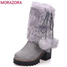MORAZORA 2020 החדש arival החורף חם שלג מגפי נשים עגול הבוהן קרסול מגפי פו נוח פלטפורמת נעלי גבירותיי נעליים