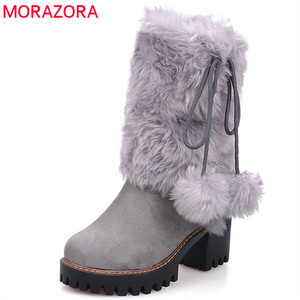 Image 1 - MORAZORA 2020 new arival winter warm snow boots women round toe ankle boots faux fur comfortable platform shoes ladies booties