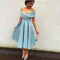 robe de soiree Cheap Prom Dresses 2017 Evening Party Dresses Tea Length Evening Dress Blue Cap Sleeve Form Gown vestido de festa