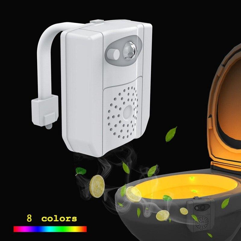 Toilet Lamp Smart Bathroom Toilet Nightlight Aromatherapy Human Body Induction LED 8 Colors Toilet Hanging Sensor