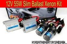 O envio gratuito de Alta qualidade 12 V 55 W kit hid xenon H1 H3 H7 H9 H11 H4 Bi xenon Hi/Low 9005 9006 D2S escondeu kit xenon para Farol