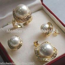 Горячая Распродажа, > 10 мм и 14 мм, белый Южно-морской жемчуг, серьги, кольцо, ожерелье, кулон, набор
