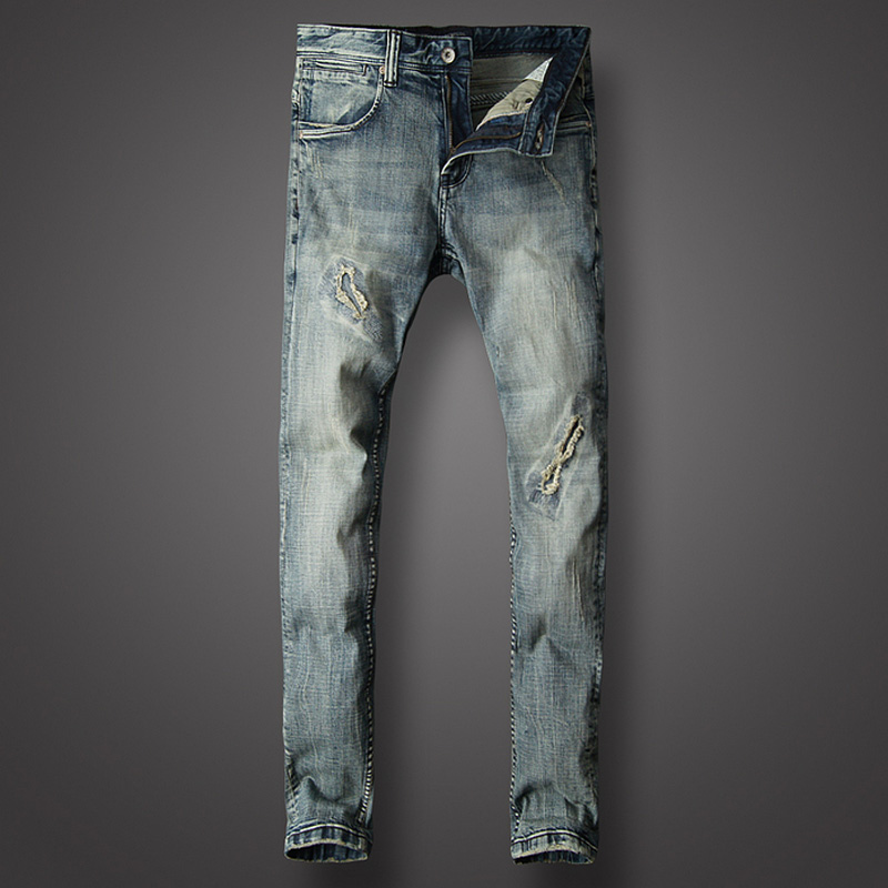 Italy Style Fashion Men Jeans Retro Blue Vintage Elastic Ripped Jeans Men Slim Fit Hip Hop Pants Hombre Classical Jeans Homme