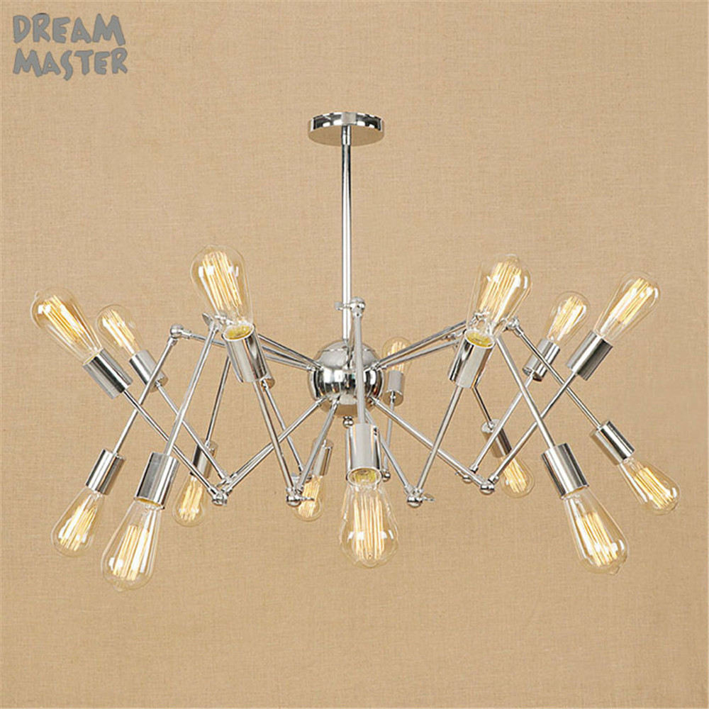 Chromed  Plated Pendant Lights, Industrial Hanging Spider Lamp Modern Lighting, Adjustable Loft Light for Living Room Shop lamp loft modern simple 3d plated colourful