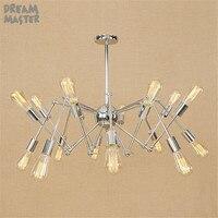 Chromed Plated Pendant Lights, Industrial Hanging Spider Lamp Modern Lighting, Adjustable Loft Light for Living Room Shop lamp