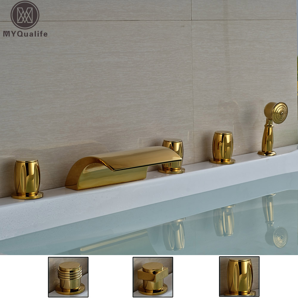 Modern 5pcs Waterfall Curve Spout Bath Tub Faucet Three Handles Widespread Tub Mixer Filler + Handshower