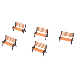 HOT-5pcs Plastic Model Park Bench Model Landscape 1:50 w/ Black Arm