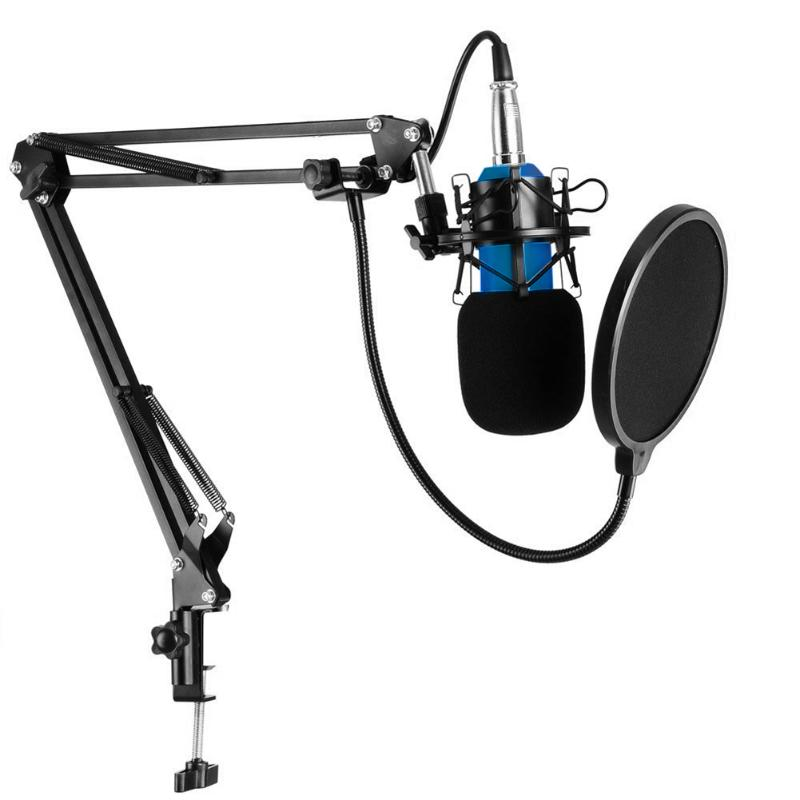 ALLOYSEED Professional BM-800 Condenser Microphone 3.5mm Mic with Metal Shock Mount for Radio Broadcasting Studio Recording bm 800 high quality professional condenser sound recording microphone with shock mount for radio braodcasting singing 4 color