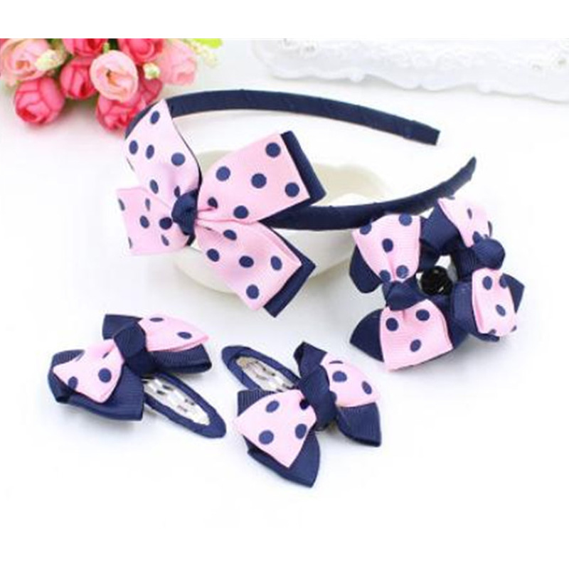 5pcs=1set Children's Hair Clip Hairbands Hair Barrette Hair Accessories Set Girls   Headwear   Rubber Band Bow Headband Hairpins