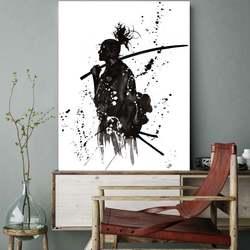 Черный и белый Японии портрет стены Книги по искусству отпечатки на холсте картины для офиса стены комнаты декор японских самураев Азиатск...