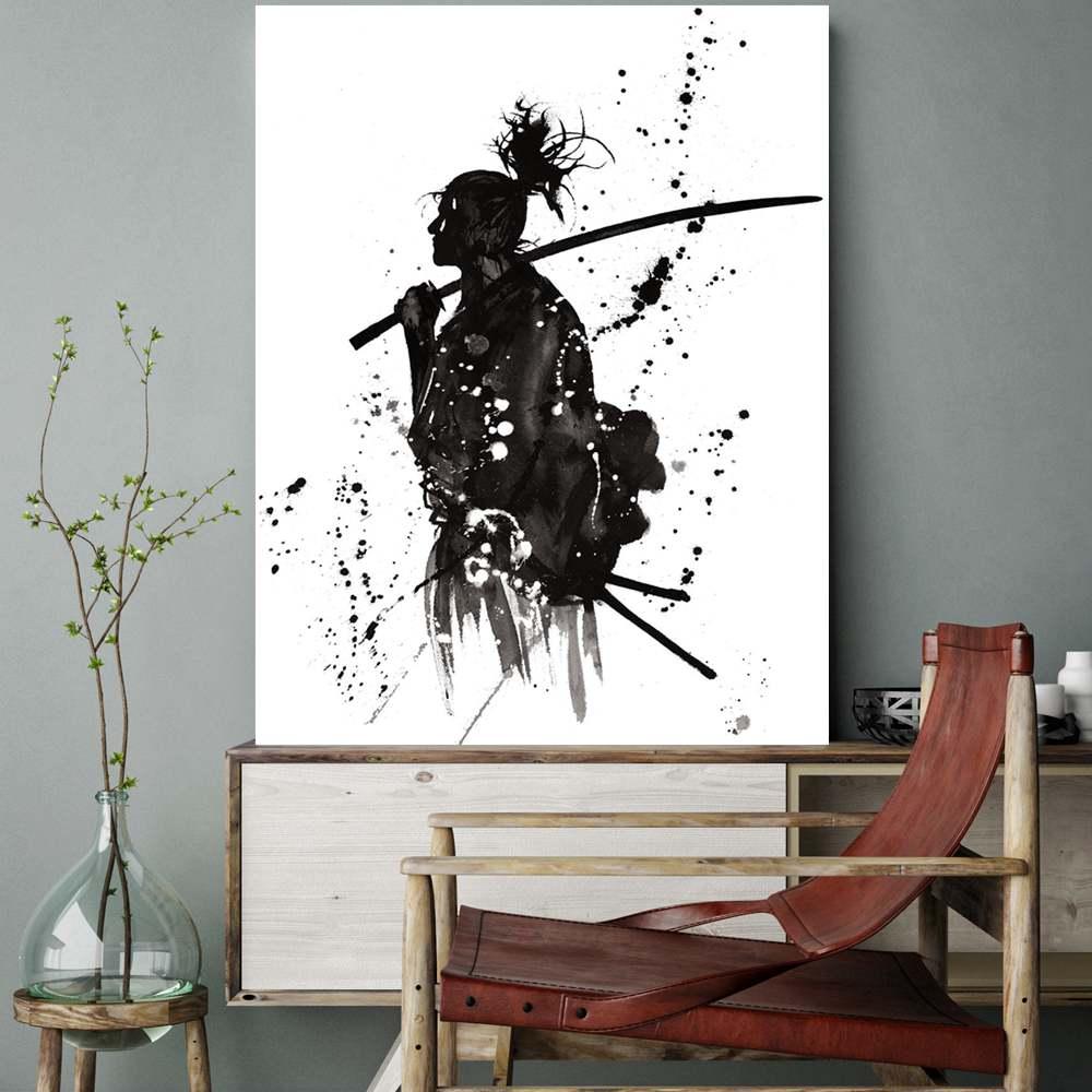Bureau Noir Et Blanc €12.54 |noir et blanc japon portrait mur art impressions sur toile peinture  pour bureau chambre mur décor japonais samouraï asiatique guerriers
