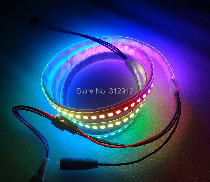 1M long 144leds/m WS2812B(5050 rgb led with WS2811 IC built-in) led pixel stripDC5Vwaterproof in silicon tubeBLACK PCB